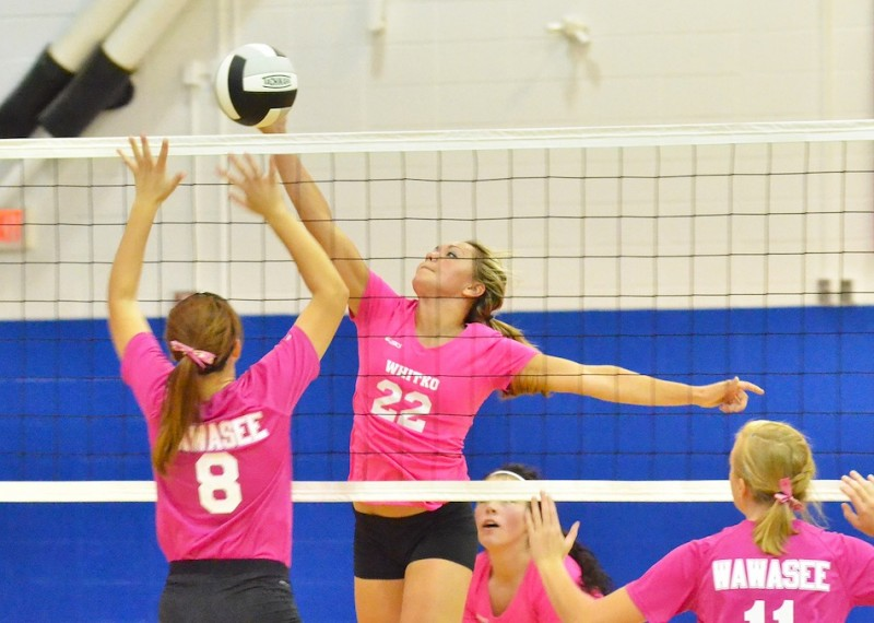 Whitko's Kaity Reed extends to get a piece of this ball. Reed had 11 kills for the Wildcats.
