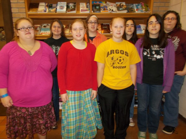 The winners for the first grading period of the 2014-2015 school year are back row: Tarynn Chase-Peters, Emilee Overmyer, Fiona Young and Shy Balsley.  Front row:  Tayah Tillotson, Brianna Riffey, Olivia Frushour and Susan Young. Other Winners not available: Courtney Horvath, Lexi Miller and Brianna Nolin.  (Photo provided)