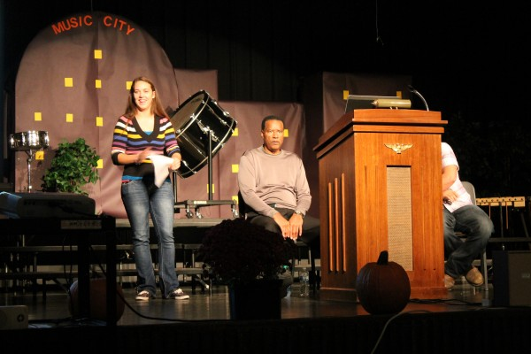Former NFL player Ken Johnson is pictured being introduced by Triton Senior, Lillie Berger