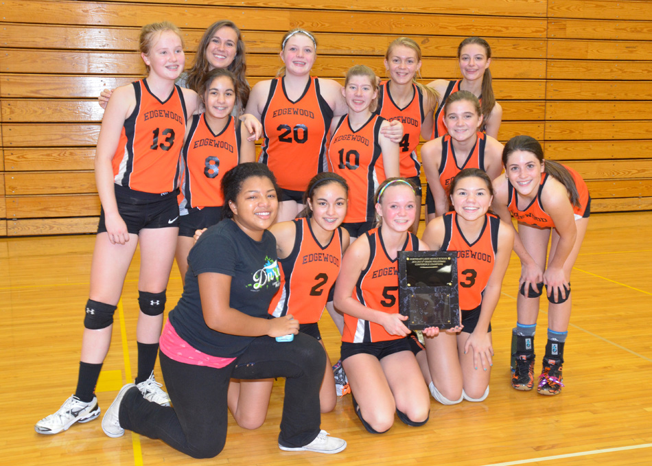 The Edgewood eighth grade volleyball team defeated Lakeview Saturday for the NELMSC championship. (Photo provided)