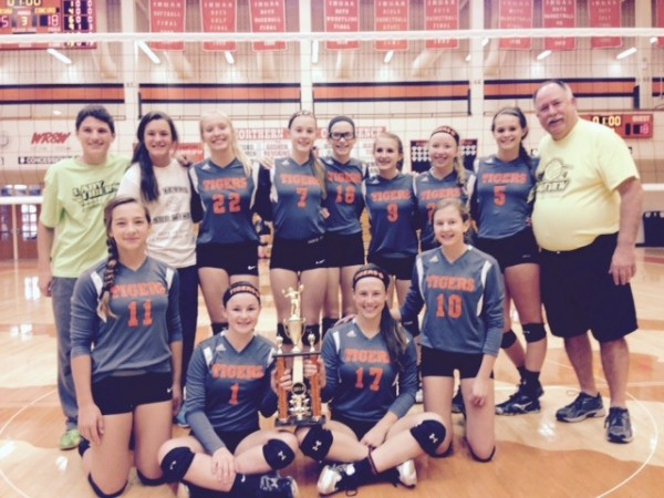 The Lakeview Middle School 8th grade volleyball team won its own tourney Saturday to remain undefeated on the season (Photo provided by Sarah Chookie)