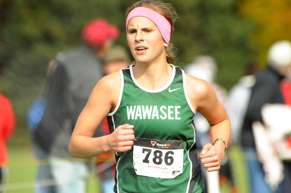 Wawasee's Molly Swartz will likely play a key role in the Lady Warriors' team standing at the Elkhart Central Cross Country Sectional this Saturday. (Photo by Mike Deak)