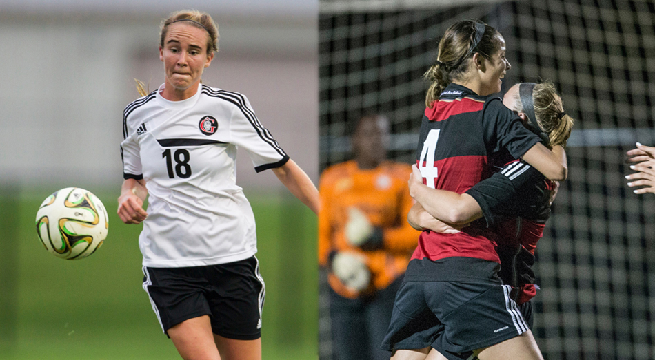 Grace College women's soccer players Carianne Sobey, left, and Mallory Rondeau were both named Crossroads League players of the year. (Photos provided by the Grace College Sports Information Department)
