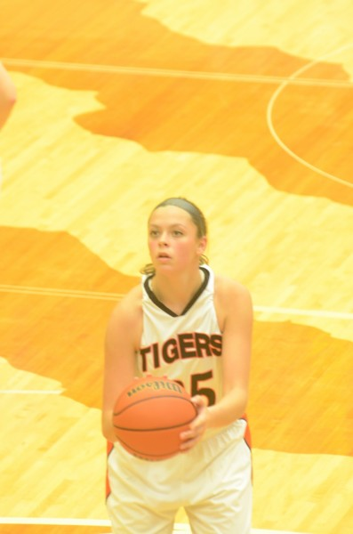 Sophomore Madi Graham eyes a free throw for the Tigers.