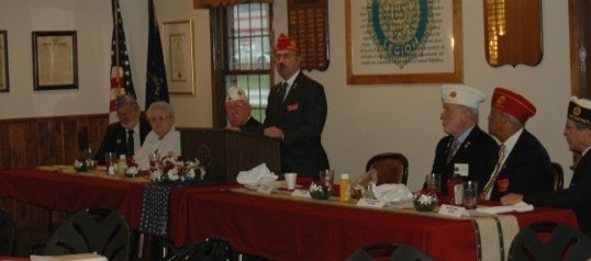 Michael Helm, national commander of the American Legion, speaks at the North Webster Legion Post.