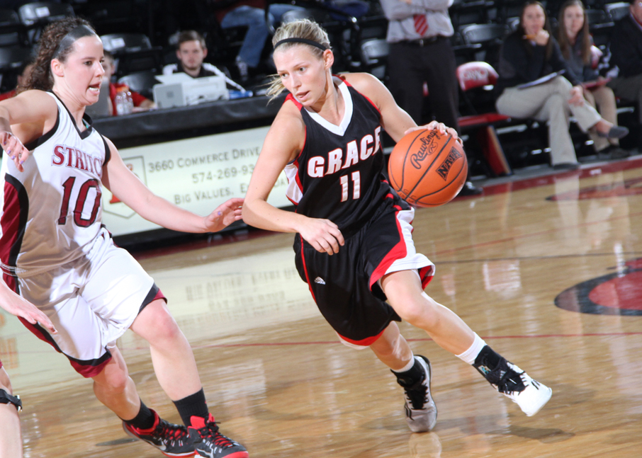 Grace College's Gabby Bryant works against Cardinal Stritch Saturday. (Photo provided by the Grace College Sports Information Department)