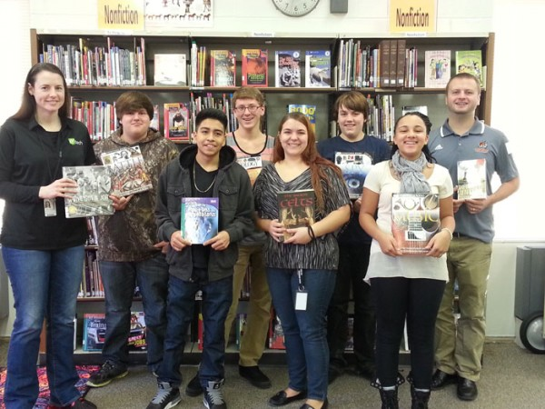 WCS Gateway students stand with their nonfiction titles. (Photo provided)
