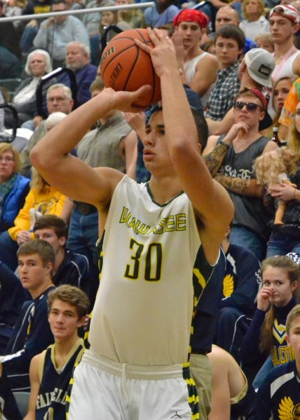 Jayce Boatwright drains his lone three-point attempt for Wawasee on Tuesday night.