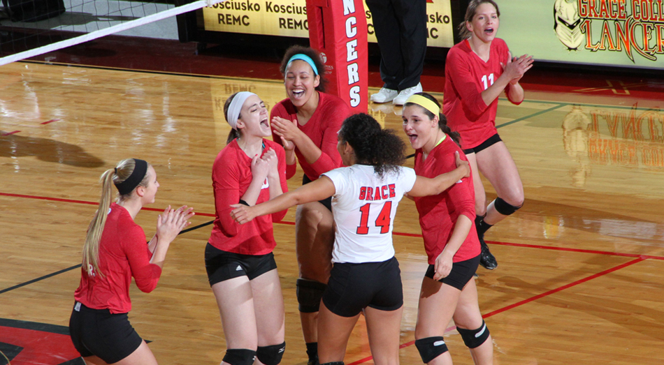 The Crossroads League named several Grace College volleyball players amongst its postseason honors. (Photo provided by the Grace College Sports Information Department)