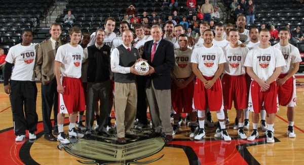 Grace College men's basketball coach Jim Kessler is honored Saturday night. Kessler, now in his 38th season at Grace, collected his 700th win Friday night (Photo provided by the Grace College Sports Information Department)