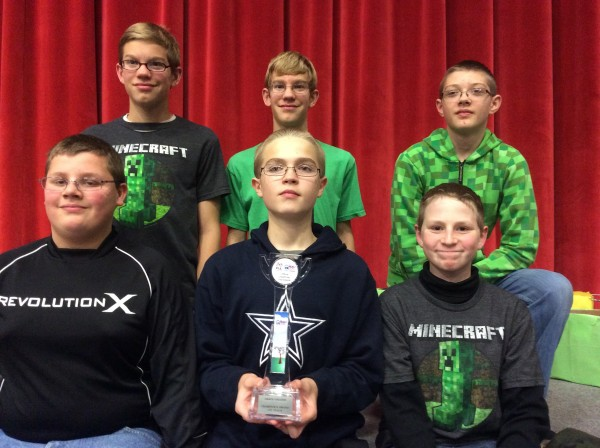 This Wawasee Middle School eighth-grade robotics team consisting of, in front from left, Cory Dunivan, Nicholas Murphy and Ethan Hays and in the back row Clay Kelsheimer, Joe Kelsheimer and Garrett Smith qualified for the state competition in Fort Wayne Dec. 13.
