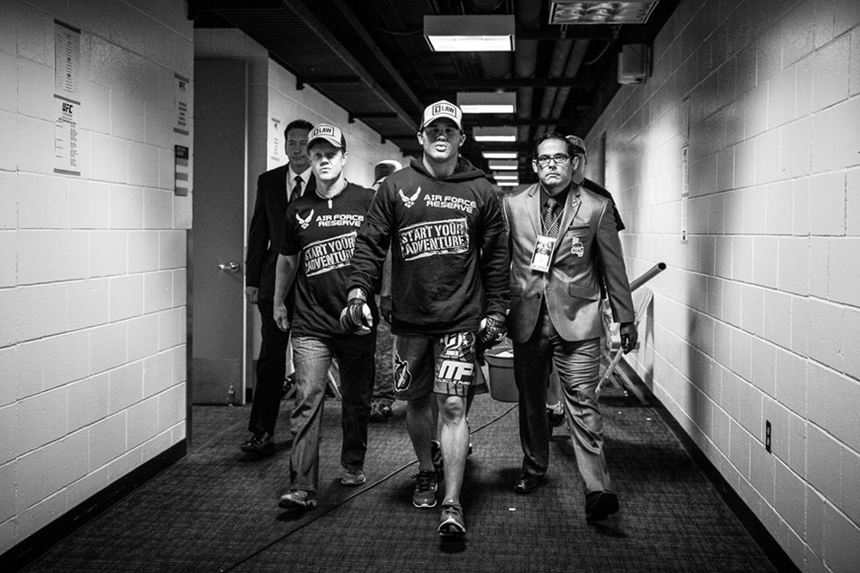 Dr. Wayne Hogenson, left, walks with UFC Welterweight No. 1 contender Robbie Lawler. Hogenson is part of Lawler's team, which will fight for the UFC Welterweight championship against Johny Hendricks Dec. 6 in Las Vegas. (Photo provided by Matt Palladino courtesy of UFC)