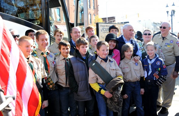 (L-R) Front row - Jacob and Nick Hawn, Ryan Harris, Parker Kelley, Frank Sexton, Andrew Frush and Charlie Sexton.Second row- Joe Hawn, Meraley Fugate, Bryston Canada, Curt Nisly, Alex Jordan, Mrs. Pence, Governor Pence, Sean Stabler, and Scoutmaster Dick McCleary. In the Back - Kole Smith and Dillon Hernandez ( hidden behind the Governor is Grayden Dunham).