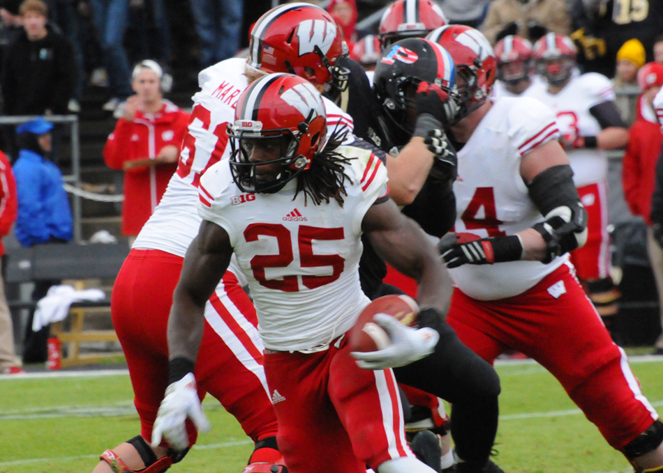Wisconsin running back Melvin Gordon finds room to run for over 200 yards against Purdue Saturday afternoon in Wisconsin's 34-16 victory. (Photos by Dave Deak)