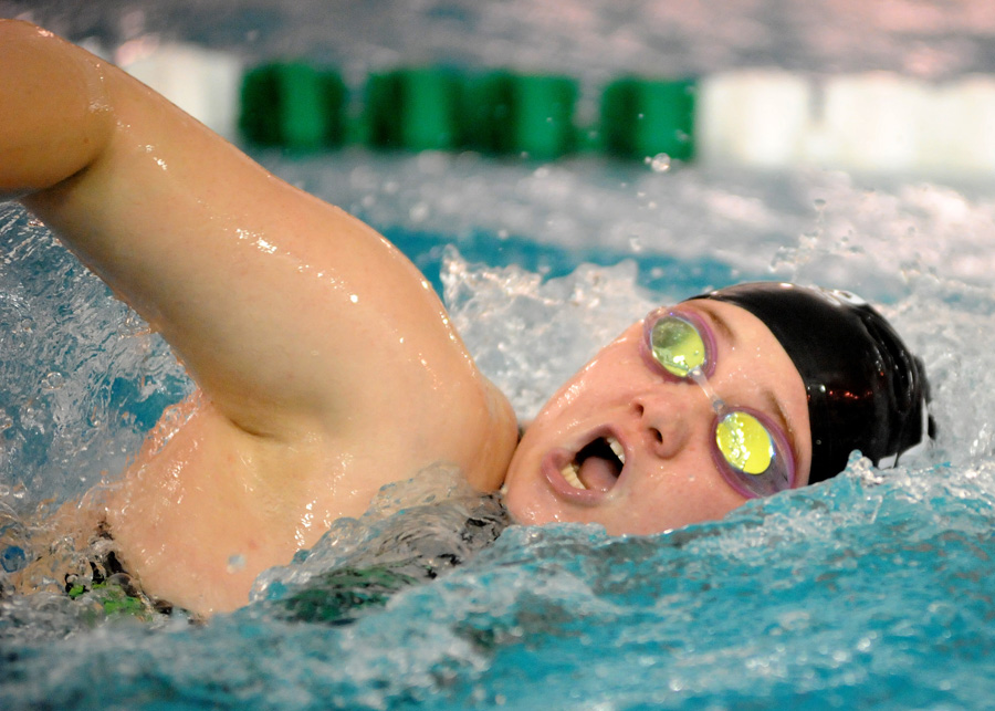 Wawasee's Jazmine Morehead swims the 100 freestyle against DeKalb Saturday morning. (Photos by Mike Deak)