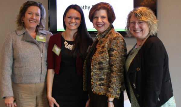 Left to Right: Mary Horan (Vice President, Director of Marketing & Public Relations Lake City Bank and WISE, INC. President), Andrea Reed (Manager, Kosciusko Chamber of Commerce and WISE, INC.  VP of Events), Kathleen Ameche (Gartner Executive), Gail Farnsley (Gartner Executive)
