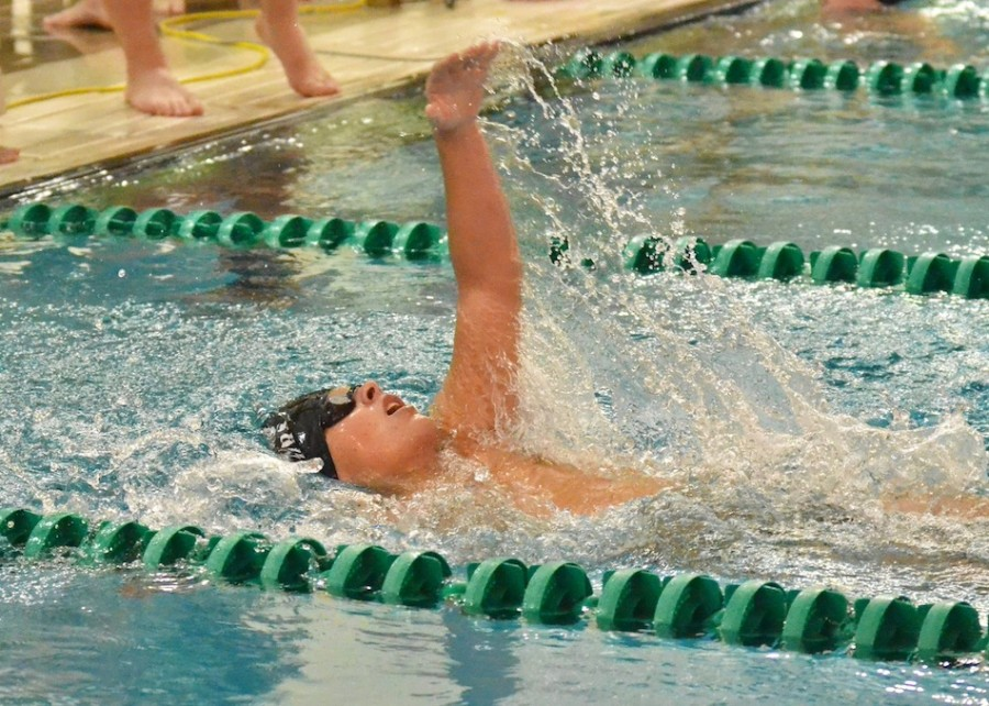 Wawasee's Danny Allen finishes his 100 back during Tuesday's meet. (Photos by Nick Goralczyk)