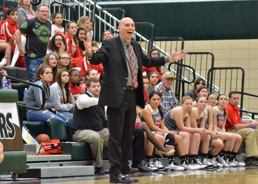 Goshen head coach Lenny Krebs reacts to a call late in Friday's game.