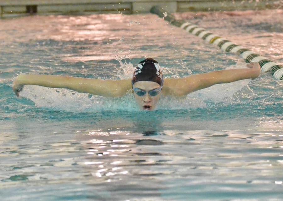 Paige Miller races to a first place finish in the 200 IM Thursday night for Wawasee. (Photo by Nick Goralczyk)