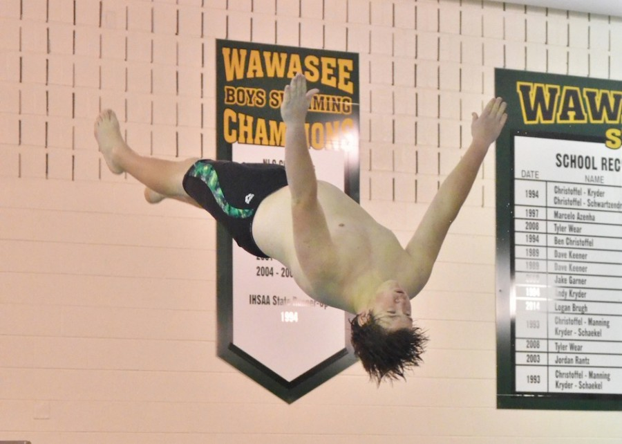 Tristen Atwood, a Wawasee senior, won the diving portion of Thursday's senior night meet against Plymouth. (Photo by Nick Goralczyk)