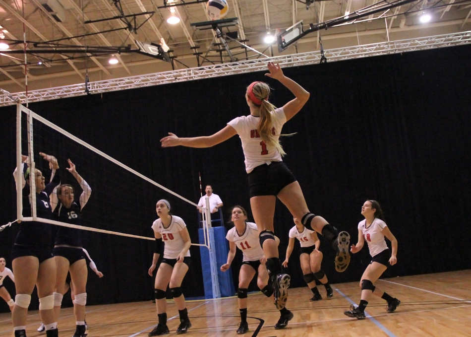 Grace College's Calah Kruse rises for an attack against Oklahoma Wesleyan Friday evening. (Photo provided by the Grace College Sports Information Department)