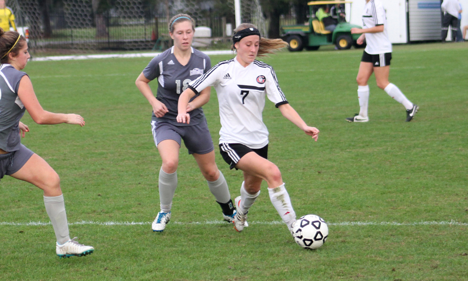 Grace College junior Meghan Wiles works during the first half against Houghton in the NCCAA women's soccer national semi-finals. (Photo provided by the Grace College Sports information Department)