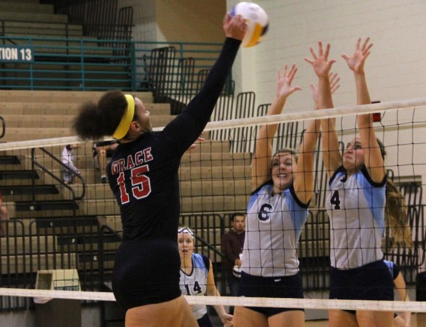 Sierra Smith of Grace College goes up for a kill attempt Saturday. The Lancers lost to No. 1 seed Trinity Christian in the semifinals of the NCCAA National Championships in Florida (Photo provided by Josh Neuhart)