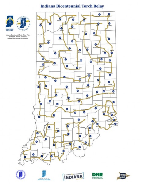 Indiana Bicentennial Torch Relay Route