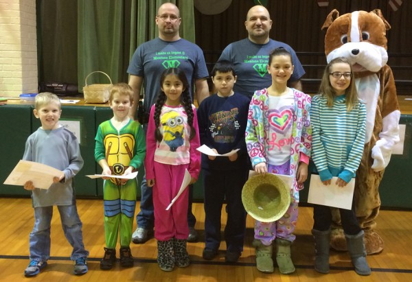 Mentone Elementary Students honored in December are: Grayson Waldo, Harvey Hayes, Camila Aguilar, Jorge DeLaRose, Corina Stiles, and Sydney Petersen. In back are Mentone Police Officers Terry Engstrand and Jim Eades, and The Mentone Bulldog. (Photo provided)