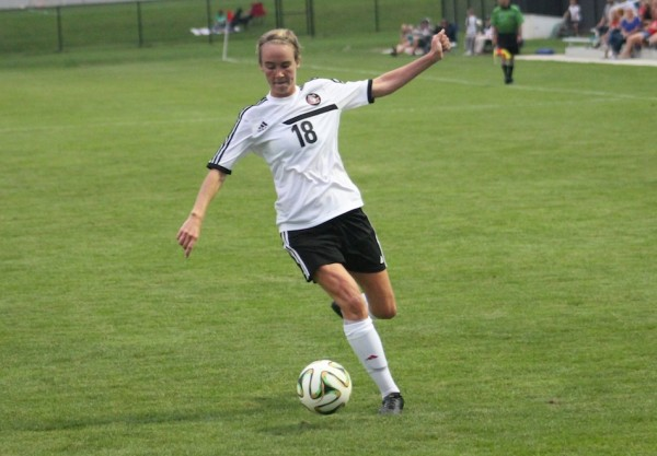 Carianne Sobey, shown in action earlier this season, had a goal and an assist for Grace in a 4-0 win Monday in the NCCAA Championships (File photo provided by the Grace College Sports Information Department)