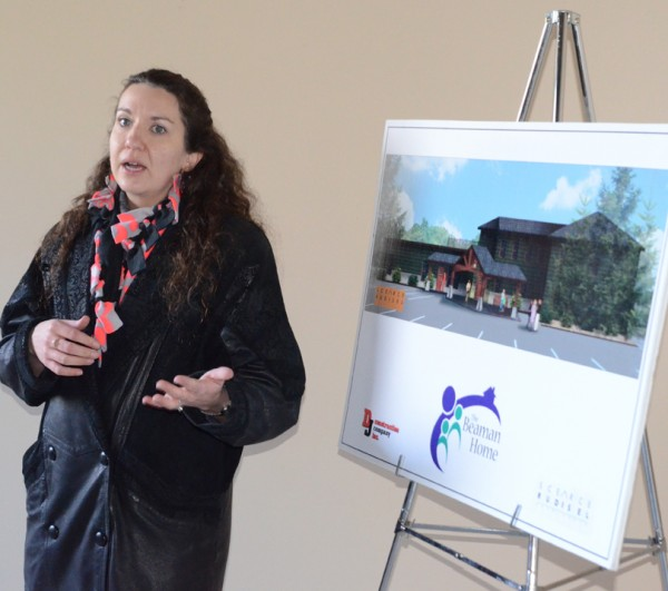 Tracie Hodson, executive director, explains the construction/renovation plans. (Photo by Deb Patterson)