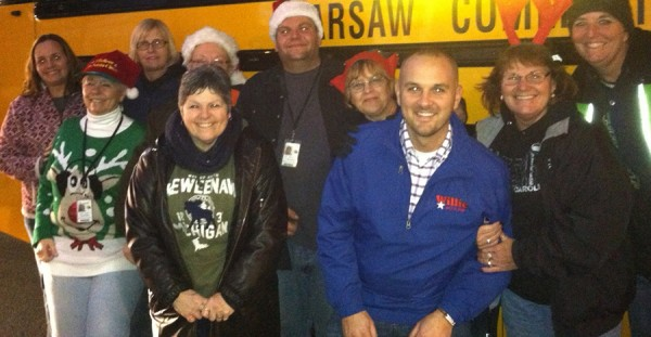 Warsaw Community Schools bus drivers at the Toys for Tots drive.