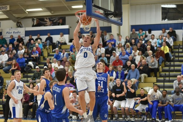 Bethel's Clay Yeo slams one home earlier this season. The former Triton High School star is having a stellar season for the Pilots (Photos provided by Keith Cooper)