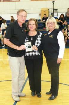 Barry and Kathy Blocher were inducted into the LCA athletic hall of fame. Pictured with the Blochers on the far right is LCA administrator Joy Lavender.