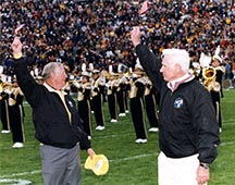 This photo of Purdue alumni astronauts Neil A. Armstrong (left) and Gene A. Cernan, will be aboard the Orion space vehicle. The photo is from a 2007 football game in Purdue's Ross-Ade Stadium. (Purdue University photo)