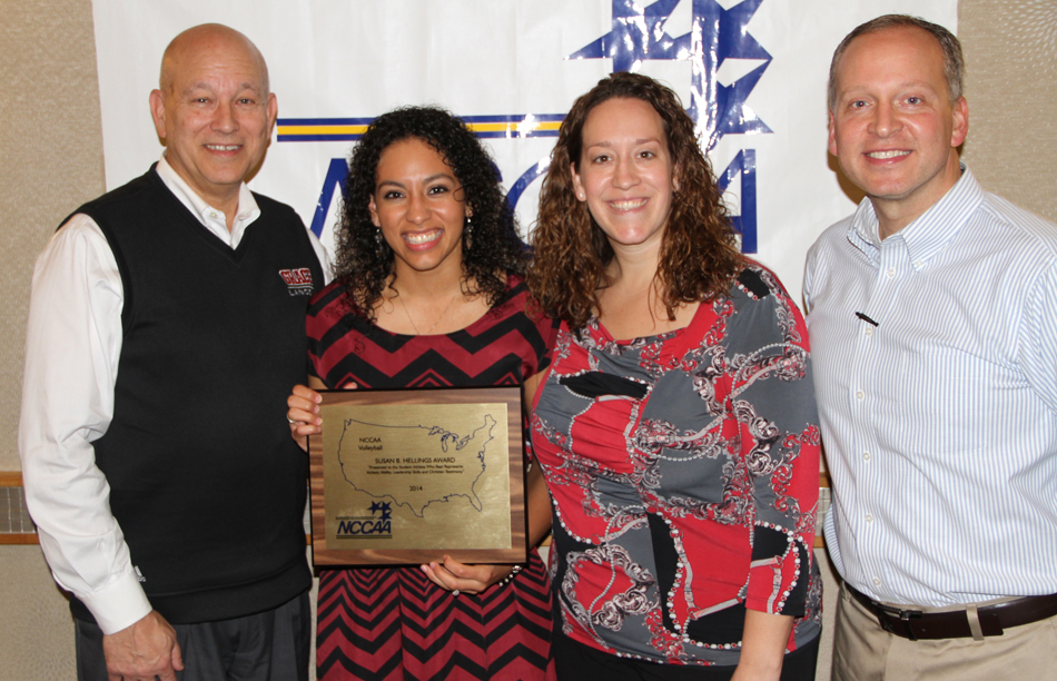 Grace College volleyball player Hannah Clemmons earned the prestigious Hellings Award. Pictured are (left) Grace president Dr. Bill Katip, Hannah Clemmons, Grace coach Andria Harshman, Grace athletic director Chad Briscoe at Wednesday's 2014 NCCAA National Volleyball Banquet. (Photo provided by the Grace College Sports Information Department)