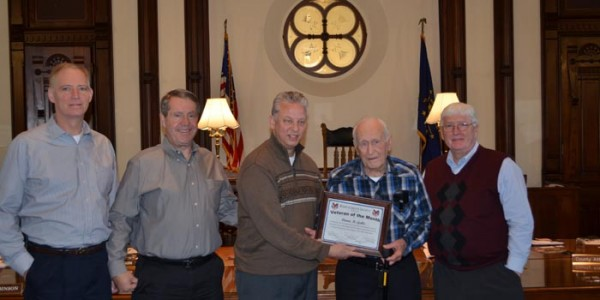 Pictured, from left, Brad Jackson, Ron Truex, Rich Maron, Veteran of the Month, Duane Gable, and Bob Conley.