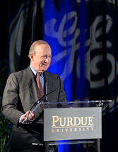 Purdue University President Mitch Daniels speaks during Thursday's announcement of the GE/Purdue Partnership in Research and Innovation in Advanced Manufacturing. (Purdue University photo/Charles Jischke)