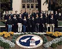 The Orion test flight will carry this photo of Purdue alumni astronauts into space. The photo was taken during their reunion on Purdue's campus in 1999. (Purdue University photo)