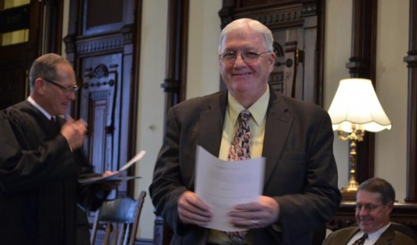 Kosciusko County Commissioner, Southern District, Robert Conley after being sworn in.