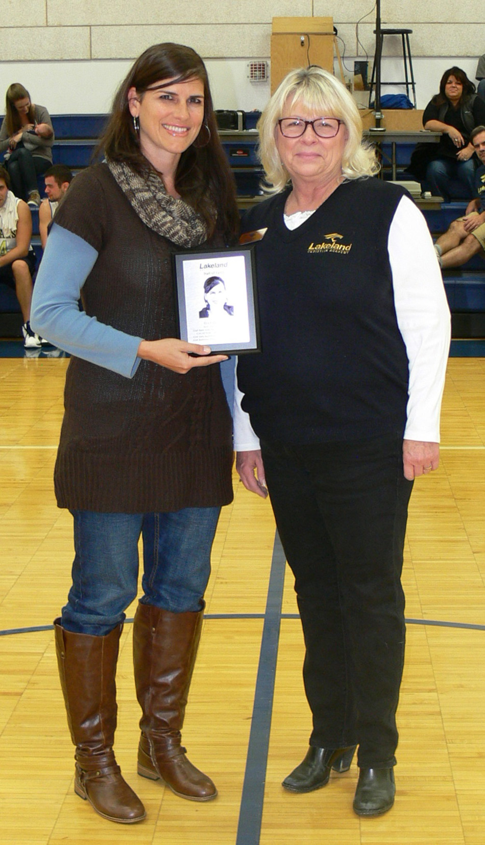 Kristin Calizo (Doran) was inducted into the LCA athletic hall of fame. Pictured with Calizo is LCA administrator Joy Lavender. (Photos provided by LCA athletics)