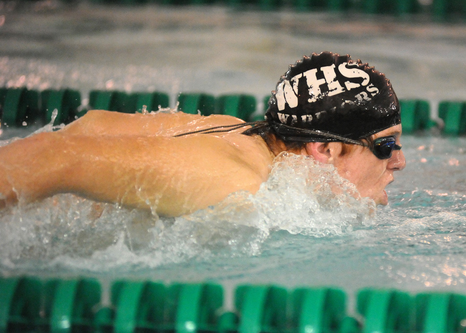 Wawasee's Chase Ritter swims the fly portion of the medley relay Tuesday night against Concord. (Photos by Mike Deak)