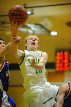 Tippecanoe Valley's Alex Thacker drives to the hoop against Whitko Friday night. (Photos by Mike Deak)