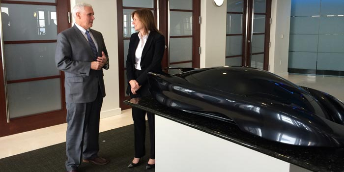Gov. Pence meeting with General Motors CEO Mary Barra at General Motors' headquarters in Detroit. (Photo Provided)