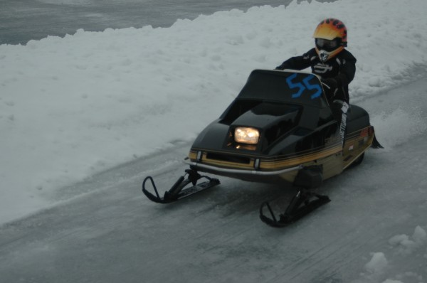 Wawasee Kiwanis Club will hold its annual snowmobile drags, ice permitting, Jan. 31. Registration is from 8:30 a.m. to 10:30 a.m. with races starting at 11 a.m. Pictured, JT Finlinson, with his modified 440 Chisel Stud, participates in the 2014 Wawasee Kiwanis Snowmobile Drags.