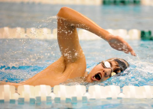 Ben Butcher of Wawasee works through a lifetime-best swim in the 500 freestyle at Northridge.