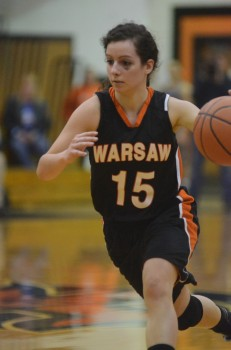 Vicki Harris heads to the bucket for Warsaw Saturday in the LaPorte Regional. The Tigers lost 48-36 to No. 9 Merrillville in a semifinal game.