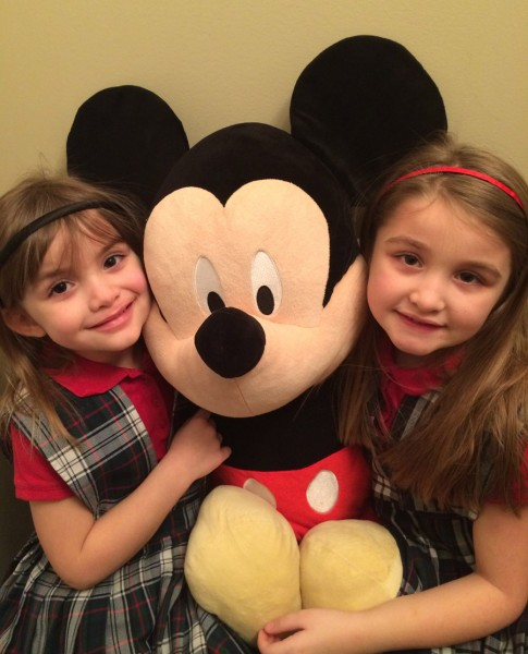 Sacred Heart students, Adella-Mae and Emma-Claire are excited about the Walt Disney World Family Adventure Raffle offered by Sacred Heart Schools Home and School Association. (Photo provided)