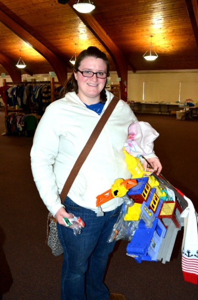 Kim Call of Winona Lake shops for her 8 month old and 4 year old at the Kids Market sale.