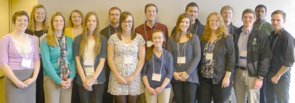 Center for Lakes & Streams staff and students attended the 27th Annual ILMS Conference at Oakwood Resort in Syracuse. Bottom row, from left: Madisson Heinl, Heather James, Joellyn Moine, Hannah Fraser, Jasmine Goshert, Caitlin Yoder, Amy Bloemendaal, Seth Bingham, Tim Bradley.Top row, from left: Alix Underwood, Casey Kunz, Josiah Hartman, Ryan Workman, Danila Kurkulin, Nate Bosch, Tiler Reese.